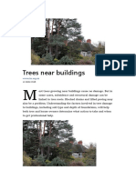 Trees near buildings