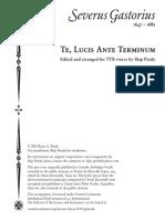 Gastorius Severus Te Lucis Ante Terminum