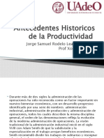 Antecedentes Historicos de la Productividad