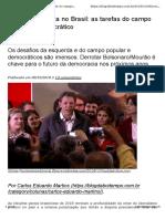 Texto Carlos Eduardo Martins - Escalada Fascista no Brasil