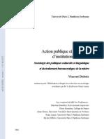 Action publique et processus d'institutionnalisation-Sociologie des politiques culturelle et linguistique et du traitement bureaucratique de la misère