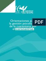 Orientaciones Para La Gestion Psicologica de La Cuarentena Por El Coronavirus