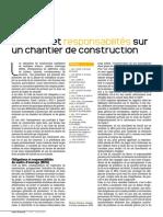 Securite et responsabilites sur un chantier de construction