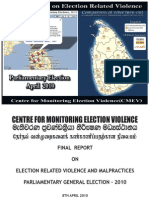 Final Report on Election Violence (English) - Parliamentary Election 2010
