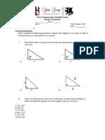 Monthly exam 1 trigonometry