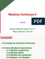 Aula 07 - Modelos Contínuos II