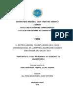 El Estres Laboral y Su Influencia en El Clima Organizacional 2018