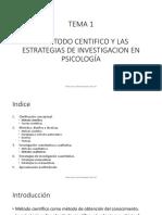 Tema 1. EL METODO CENTIFICO Y LAS ESTRATEGIAS DE INVESTIGACION EN PSICOLOGÍA
