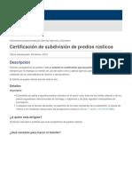 Certificación de subdivisión de predios rústicos