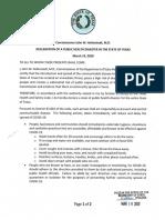 Public Health Disaster Declaration