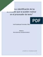 Historia e identificación de las actividades que se pueden realizar en el procesador de texto.docx