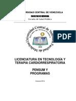 PENSUM Y PROGRAMAS LIC EN CARDIORESPIRATORIO UCV