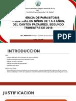 Incidencia Parasitosis Intestinal Pacaures 2018
