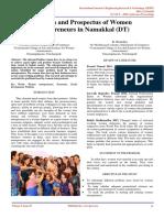 Problem and Prospectus of Women Entrepreneurs in Namakkal (DT)