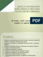 BAZELE ORGANIZĂRII APROVIZIONĂRII MEDICO-MILITARE A TRUPELOR ÎN CAMPANIE