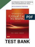 Introduction Critical Care Nursing 6th Sole Test Bank