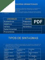 Categorias gramaticales y Sintagmas