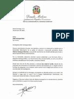 Carta de condolencias del presidente Danilo Medina a Fidel Amengual Báez por fallecimiento de su padre, Alberto Amengual Martínez