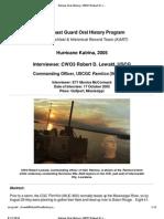 U.S. Coast Guard Oral History Program - CWO3 Robert Lewald