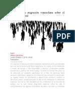 Efecto de la migración venezolana sobre el mercado laboral