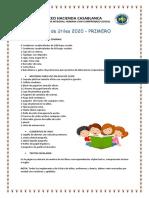 LISTA DE UTILES ESCOLARES PRIMARIhhhA 2020