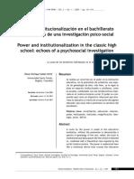 Cañón, O. Poder e institucionalización en el bachillerato clásico
