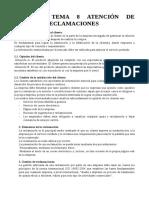 RESUMEN TEMA 8 ATENCIÓN DE QUEJAS Y RECLAMACIONES