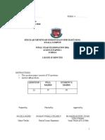 2016 final exam f4 PAPER 1