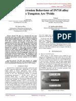 Studies on Corrosion Behaviour of IN718 alloy Gas Tungsten Arc Welds