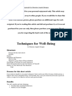 Techniques For Well-Being