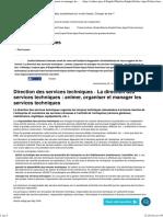 La direction des services techniques _ animer, organiser et manager les services techniques - Apec.fr - Cadres