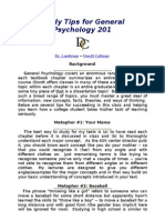 Study Tips for General Psychology 201