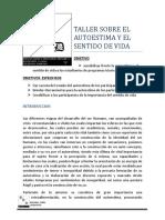 TALLER SOBRE EL AUTOESTIMA Y EL SENTIDO DE VIDA