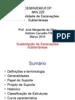 Escavações Subterrâneas - Sustentaçao Escavações