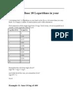 Calculating Base 10 Logarithms