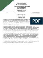Press Release Occupancy Tax - Delaware County, Saturday, March 21, 2020