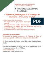 CELEBRAR Y ORAR EN TIEMPO DE PANDEMIA - IV domingo de cuaresma