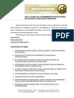 ATENDIMENTO EDUCACIONAL ESPECIALIZADO E EDUCAÇÃO ESPECIAL