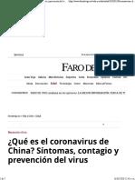 ¿Qué es el coronavirus de China- Síntomas, contagio y prevención del virus - Faro de Vigo