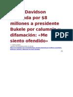 La Pagina - López Davidson demanda x $8 millones a presidente Bukele por calumnia y difamación - Me siento ofendido