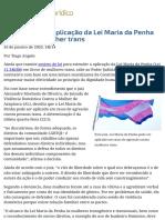Juiz de Alagoas aplica Lei maria da Penha em favor de mulher trans