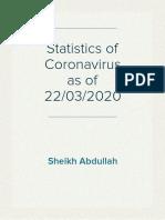 Statistics of Coronavirus Cases as of 22/03/2020