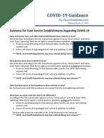 Food Establishment Guidance COVID-19