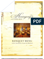 Hemingways Banquet Menu