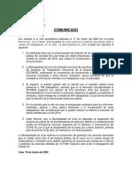 Presunto comunicado de la Municipalidad de Lima