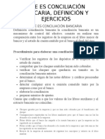 CONCILIACIÓN BANCARIA, DEFINICIÓN Y EJERCICIOS