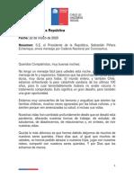 22-03-2020 PDTE PIÑERA ENVÍA MENSAJE POR CADENA NACIONAL POR CORONAVIRUS (TRANSCRIPCIÓN).pdf.pdf