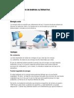 TIPOS DE FUENTES DE ENERGIA ALTERNATIVA