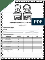 Examen de olimpiadas del conocimiento Sexto grado primaria