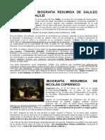 BIOGRAFIA NICOLAS COPERNICO- GALILEO GALILEI